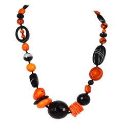 Decadent Jewels Bold and Bright Orange Coral Agate Silver and Necklace