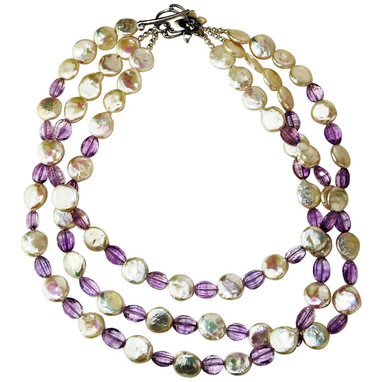 Triple Strand White Coin Pearl and Lilac Amethyst Necklace With Sterling Silver