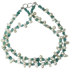 Double Strand of White Peanut Pearls and Polished Tumbled Apatite Necklace