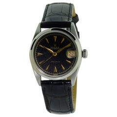 Rolex Stainless Steel three quarter Size Black Dial Early Oyster Date Watch