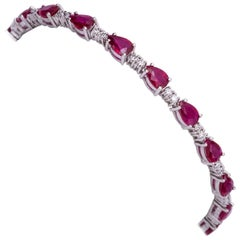 Pear Shape Ruby and Diamond Bracelet 8.87 Carat