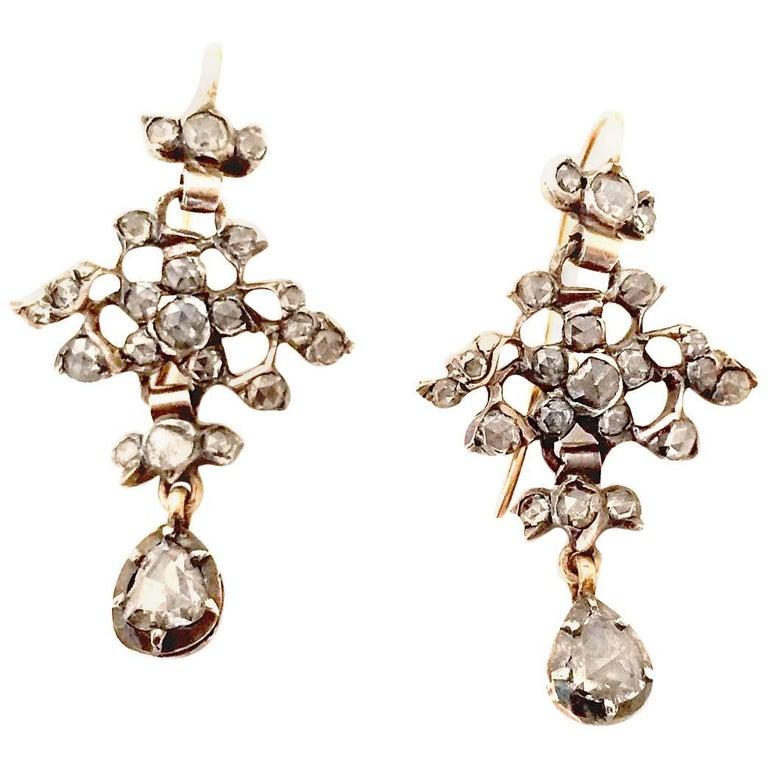 Victorian Diamond Gold Pendant Earrings