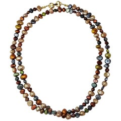 Deep Multi Color Jewel Tone Freshwater Pearl Necklace