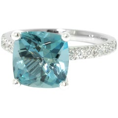 Lizunova Aquamarine and Diamond White Gold Engagement Ring