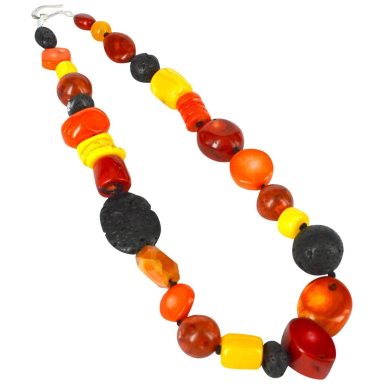 Decadent Jewels Lava Coral Agate Resin Silver Necklace