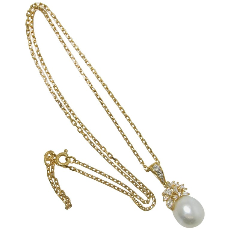 South Sea Pearl and Diamond Pendant Necklace