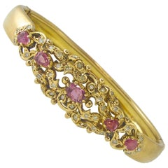 Diamond and Pink Sapphire Bangle Bracelet