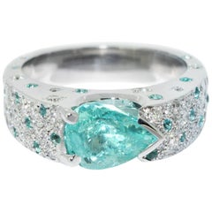 Lizunova Paraiba Tourmaline Diamond Cluster Ring
