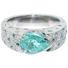 Lizunova One-of-a-Kind Paraiba Tourmaline & Diamond Ring in 18 Karat White Gold