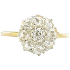French 19th Century Napoleon III Gold Diamond Cluster Ring