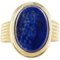 19th Century Unisex Gold Natural Lapis Lazuli Ring