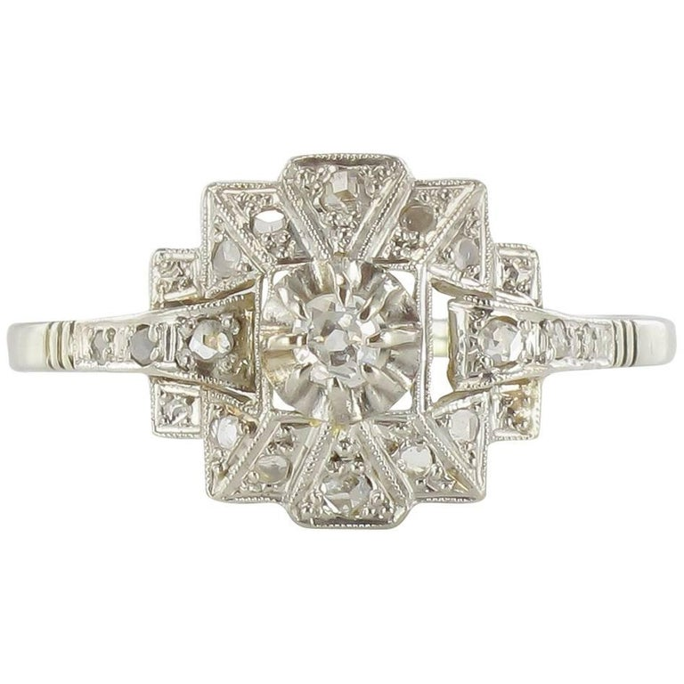 deco platinum and white gold ring for sale at
