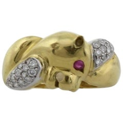 Animal Head Shape Diamonds and Rubies 18K Yellow and White Gold Ring