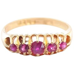 Victorian Gold Five Ruby Ring