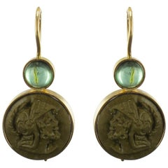 Baume Creation Tourmaline Lava Stone Cameo Gold Drop Earrings