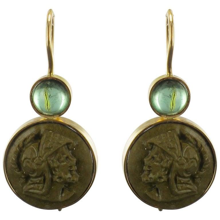 Baume Creation Tourmaline Lava Stone Cameo Gold Drop Earrings