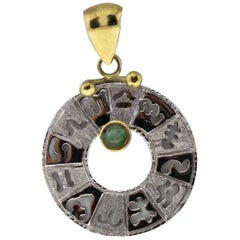 Luise Gold Pendant with Emerald Representing Zodiac Signs