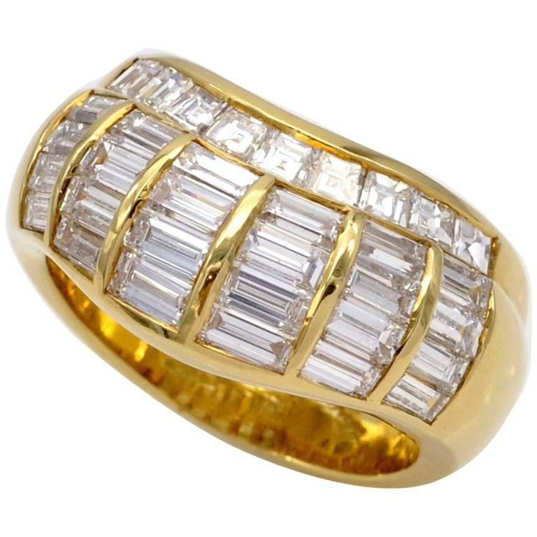Diamond Baguettes and Gold Band Ring
