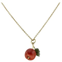 Luise Gold Necklace with Coral and Jade Apple Pendant