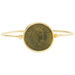 Dubini Ancient Bronze Coin Yellow Gold Bracelet