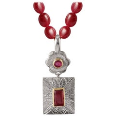 Emma Chapman Ruby Pink Tourmaline Gold Silver Pendant