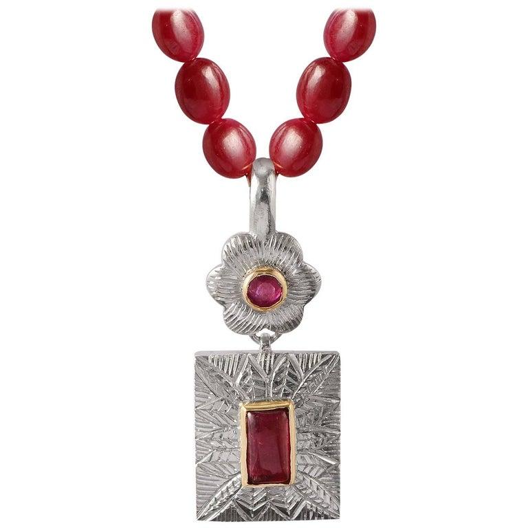 Emma Chapman Ruby Pink Tourmaline Gold Silver Pendant 1