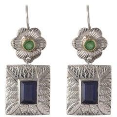 Emma Chapman Iolite Emerald Yellow Gold Silver Earrings