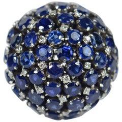 Sapphire Diamond Bombe Ring, circa 1960