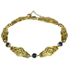 French Art Nouveau Sapphire Gold Bracelet, circa 1900