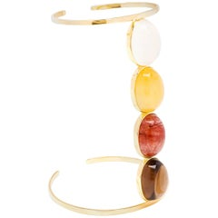 Dubini Milky Lemon Rutilated Quartz Yellow Gold Cuff