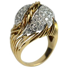 Diamond Gold Fallen Leaf Ring, circa 1950