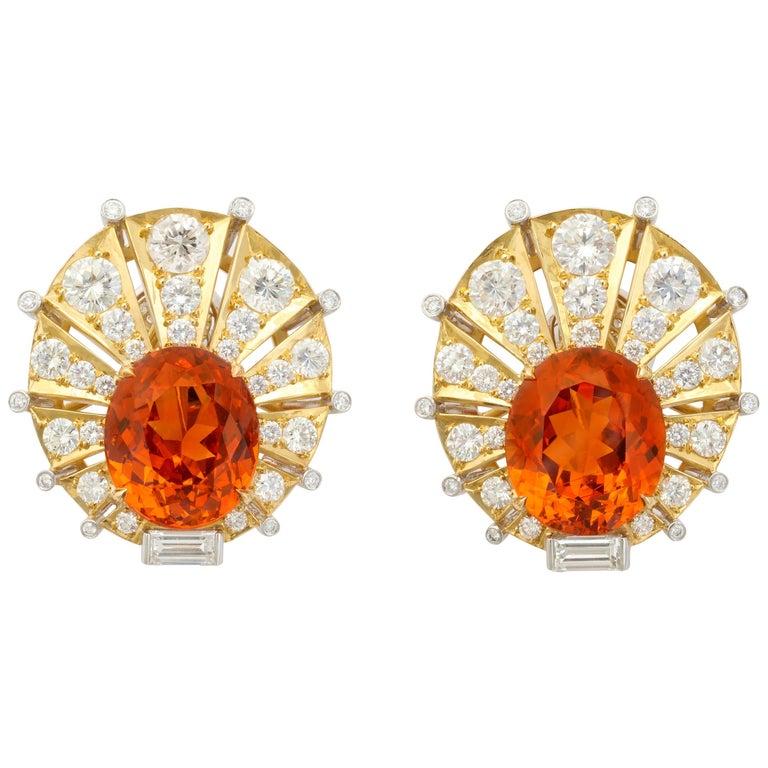 Rare Gem Quality Mandarin Garnet And Diamond Earrings For