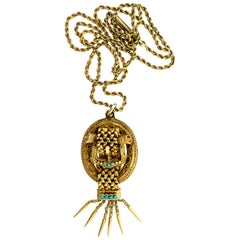 Victorian Turquoise and Yellow Gold Buckle Motif Pendant