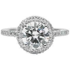 GIA Certified 1.10 Carat Round Brilliant Cut Diamond Platinum Halo Ring