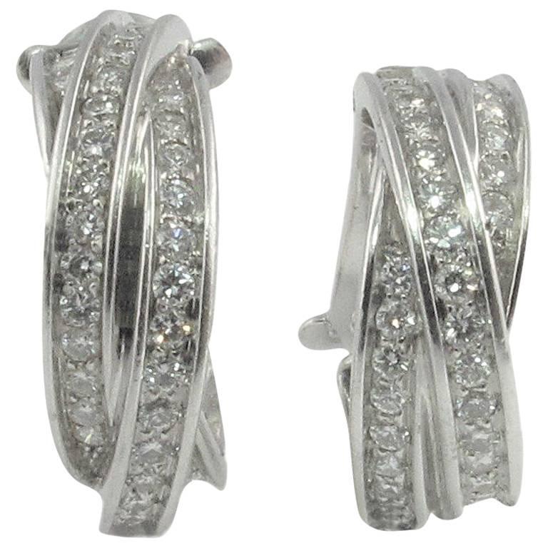 Pair of Cartier Diamond 18 Karat white Gold Trinity Hoop Earrings