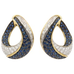 Stylish Italian Sapphire and Diamond Earrings