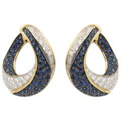 Stylish Italian Sapphire and Diamond Earrings