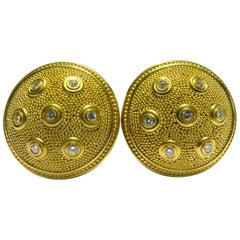 Reinstein Ross Incredible Diamond Etruscan Style 22 Karat Gold Clip Earrings