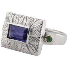 Emma Chapman Iolite Emerald Yellow Gold Silver Ring