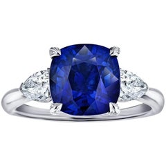 5.03 Carat Cushion Blue Sapphire and Diamond Ring