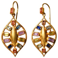 Lauren Harper Multicolored Sapphires Gold Drop Earrings