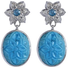 Emma Chapman Turquoise Blue Topaz Silver Earrings