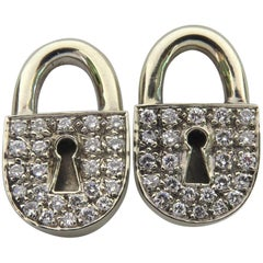 Unique Diamond White Gold Post Lock Motif Earrings