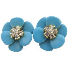 Stunning Turquoise Diamond Flower Post Gold Earrings