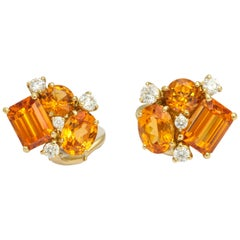 Mandarin Garnet and Diamond Gold Cluster Earclips