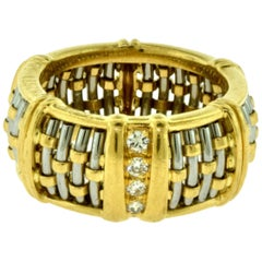 Cartier Gold and Steel Basket Weave Dome Band Ring