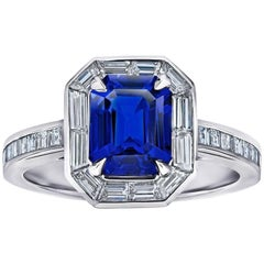2.55 Carat Emerald Cut Blue Sapphire Baguette Diamond Halo Ring