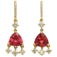 Donna Vock Gold Rubelite and Diamond Fringe Earrings