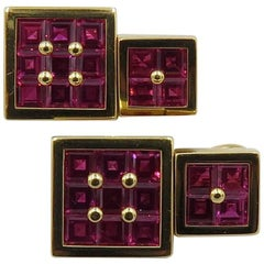 Square Ruby Gold Cufflinks
