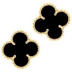 Van Cleef & Arpels Alhambra Onyx Gold Earrings